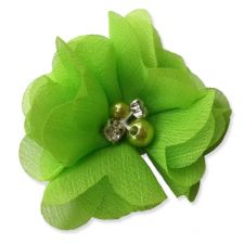 5cm Pearl Diamante LIME GREEN Fabric Flower Applique